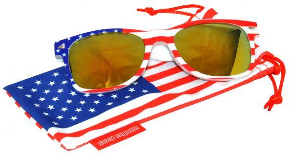 OWL ® Eyewear Retro Sunglasses American White Flag Frame Yellow Mirror Lens (One Pair)