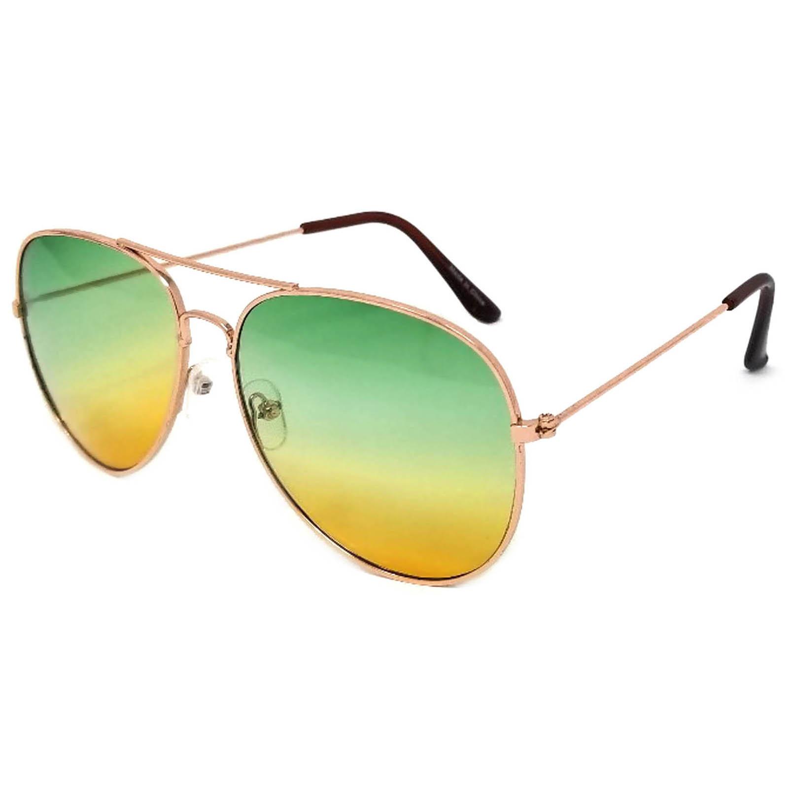 buy online aviator 2 tone color lens green yellow