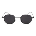 Octagon polygon shape sunglasses, black frame, smoke lens