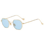 Octagon shape sunglasses, gold frame, blue lens