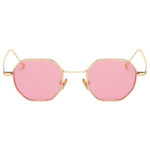 Octagon shape sunglasses, gold frame, pink lens