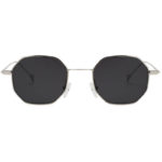 Octagon shape sunglasses, silver frame, smoke lens