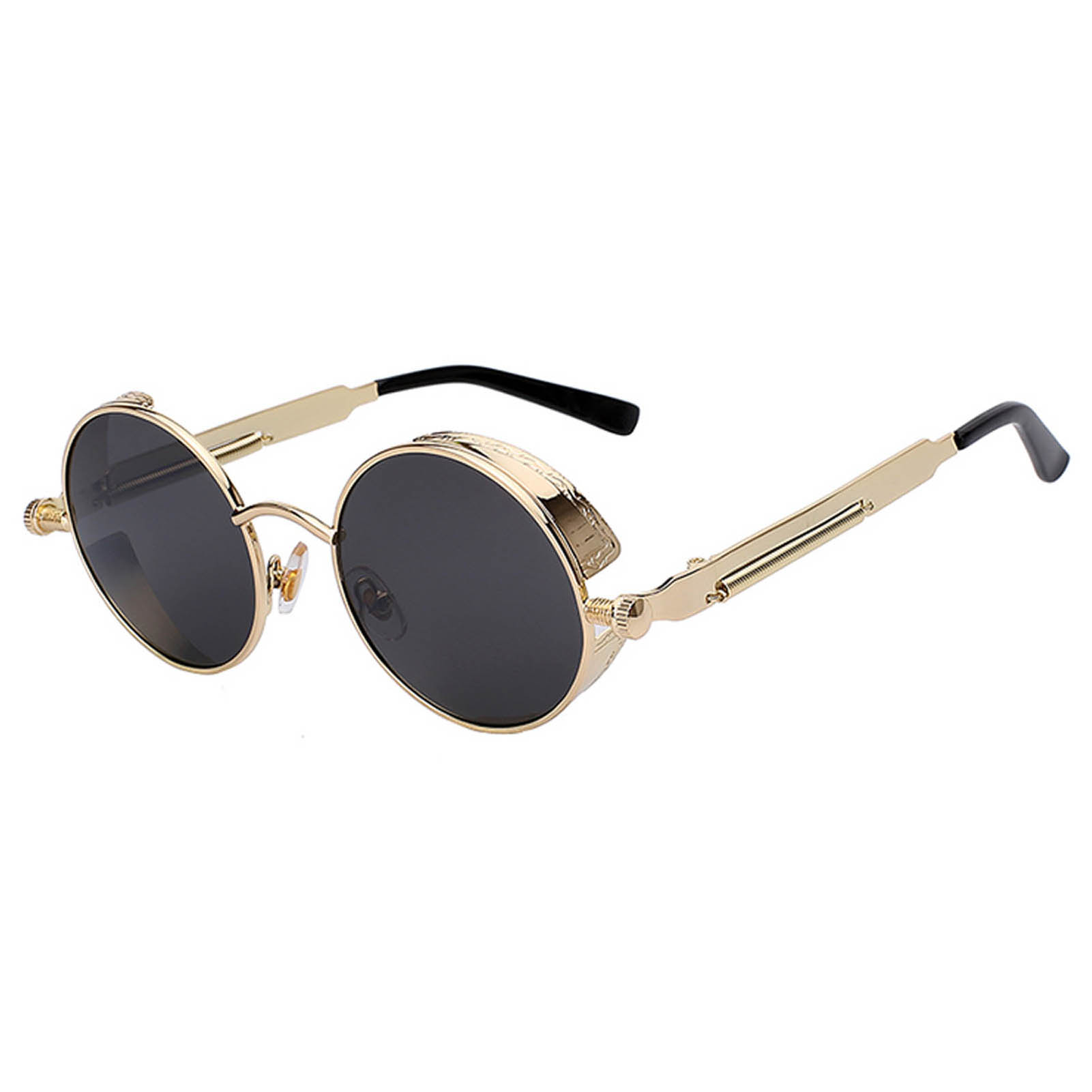 060 Steampunk C1 Gothic Sunglasses Metal Round Circle Gold Frame Black Lens One Pair