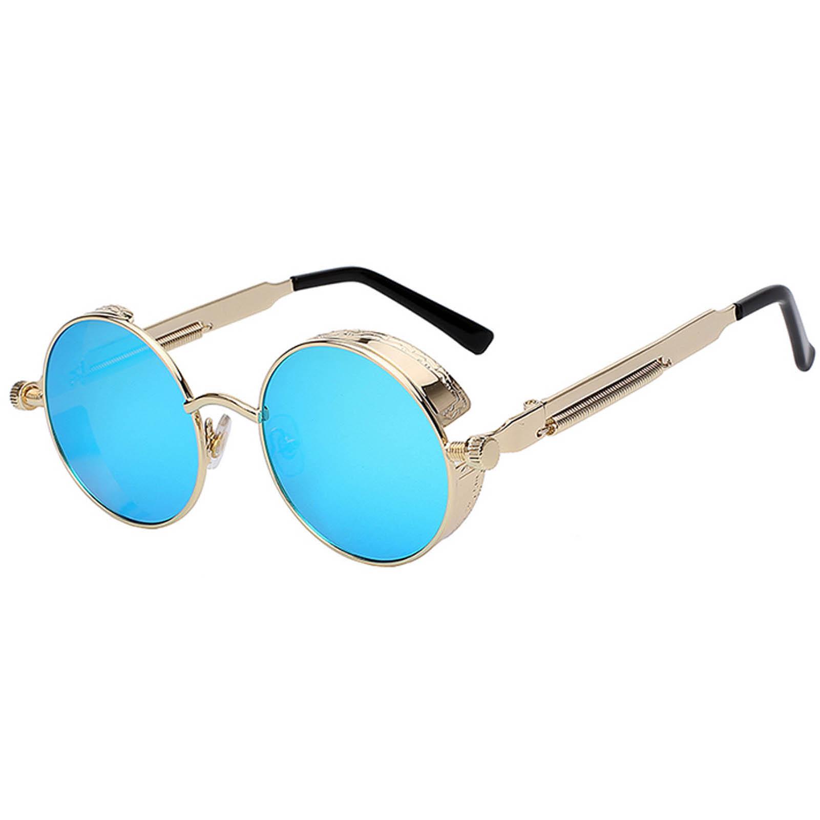 1e87e210b8 060 Steampunk C2 Gothic Sunglasses Metal Round Circle Gold Frame Blue Ice  Mirror Lens One Pair