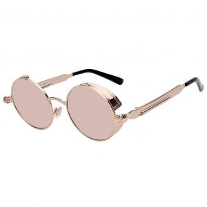 060 Steampunk C3 Gothic Sunglasses Metal Round Circle Gold Frame Pink Mirror Lens One Pair