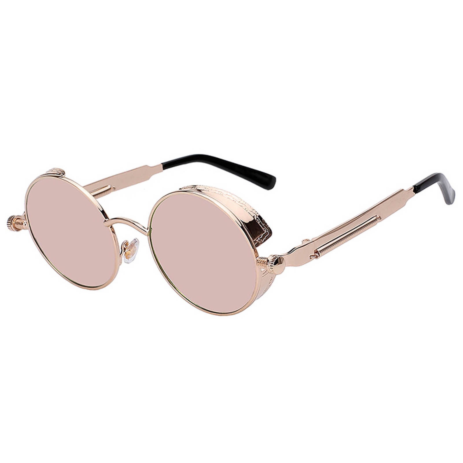 060 C3 Steampunk Gothic Sunglasses Metal Round Circle Gold Frame