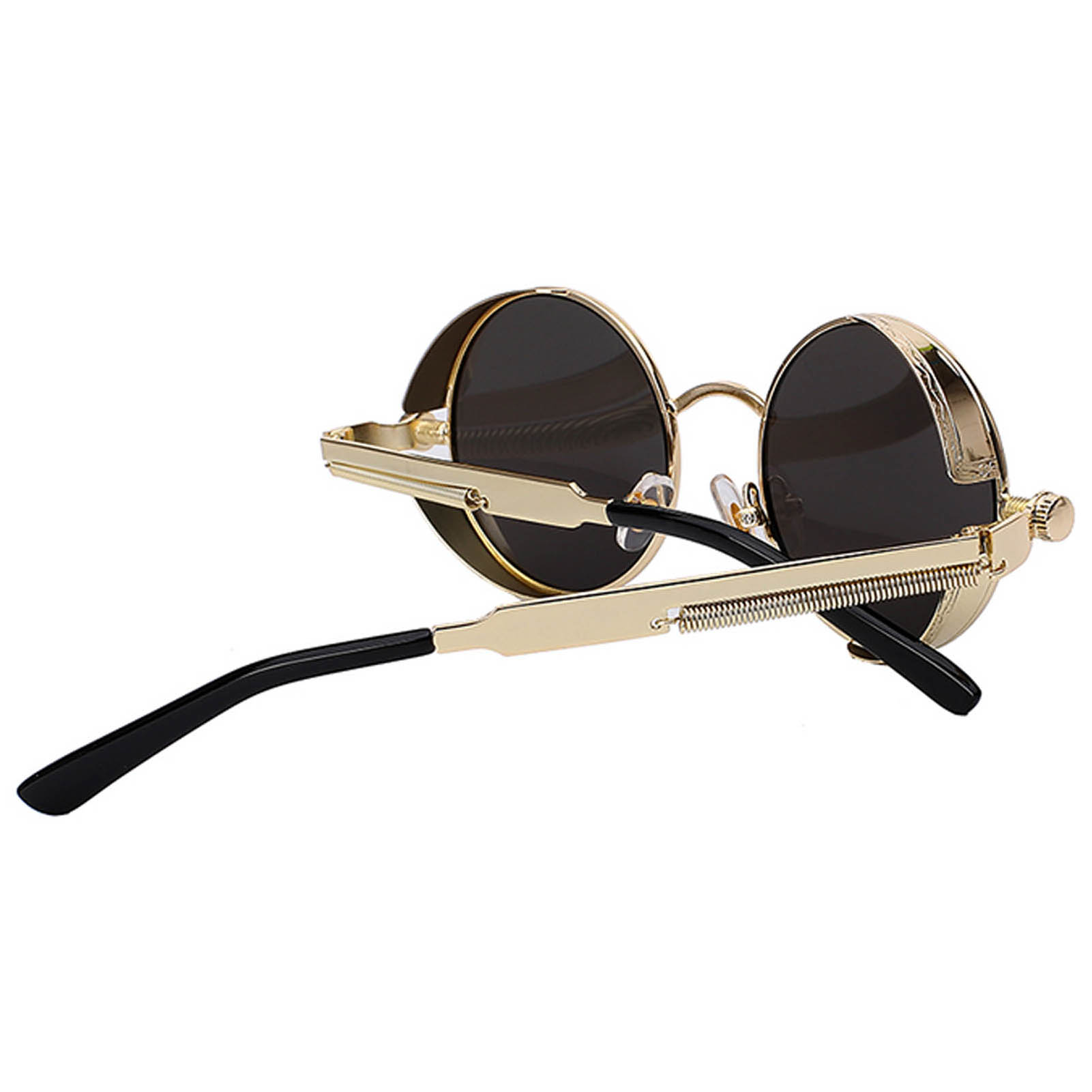 0c02c3b7b7 ... 060 C6 Steampunk Gothic Sunglasses Metal Round Circle Silver Frame Blue  Ice Mirror Lens One Pair