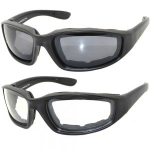 Motorcycle glasses 2 pairs clear lens, smoke lens