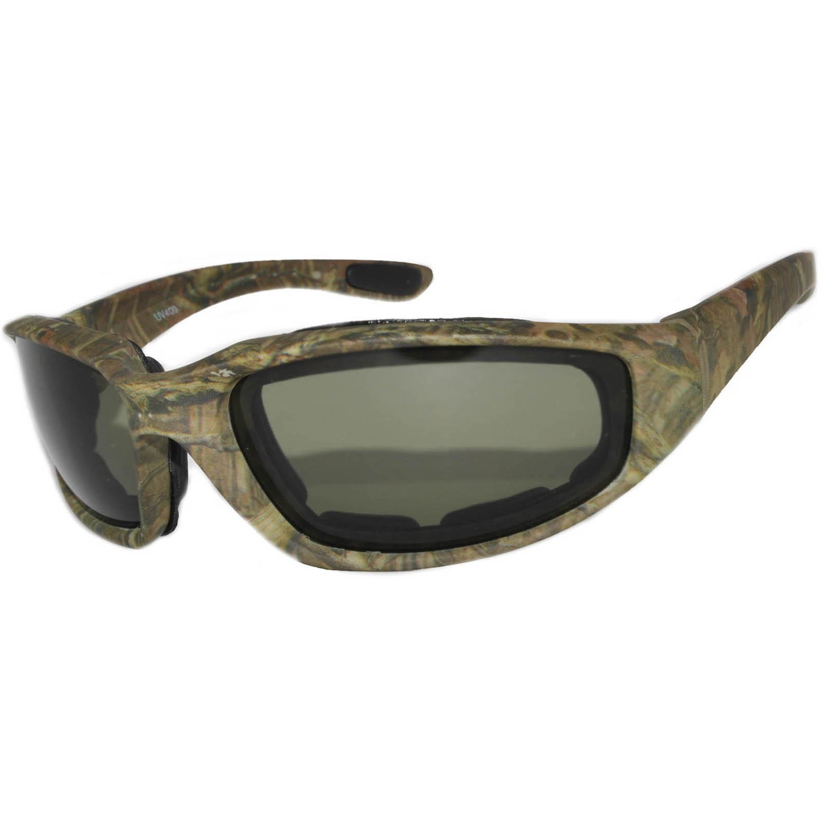 OWL Eyewear Motorcycle Padded Glasses Camo#1 Frame Green Lens (One ...