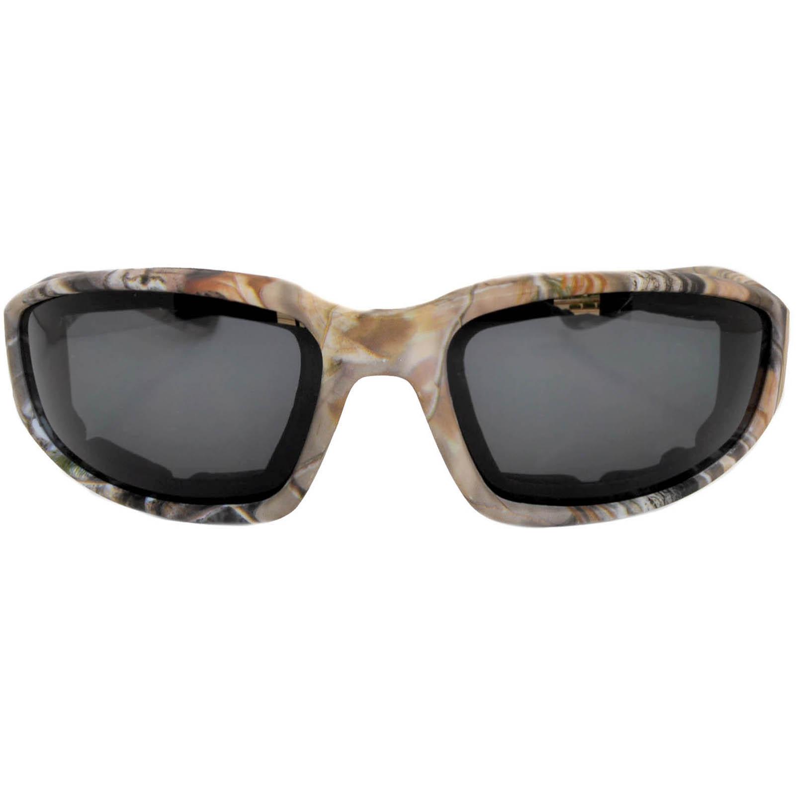 OWL Eyewear Motorcycle Padded Glasses Camo#2 Frame Smoke Polarized ...