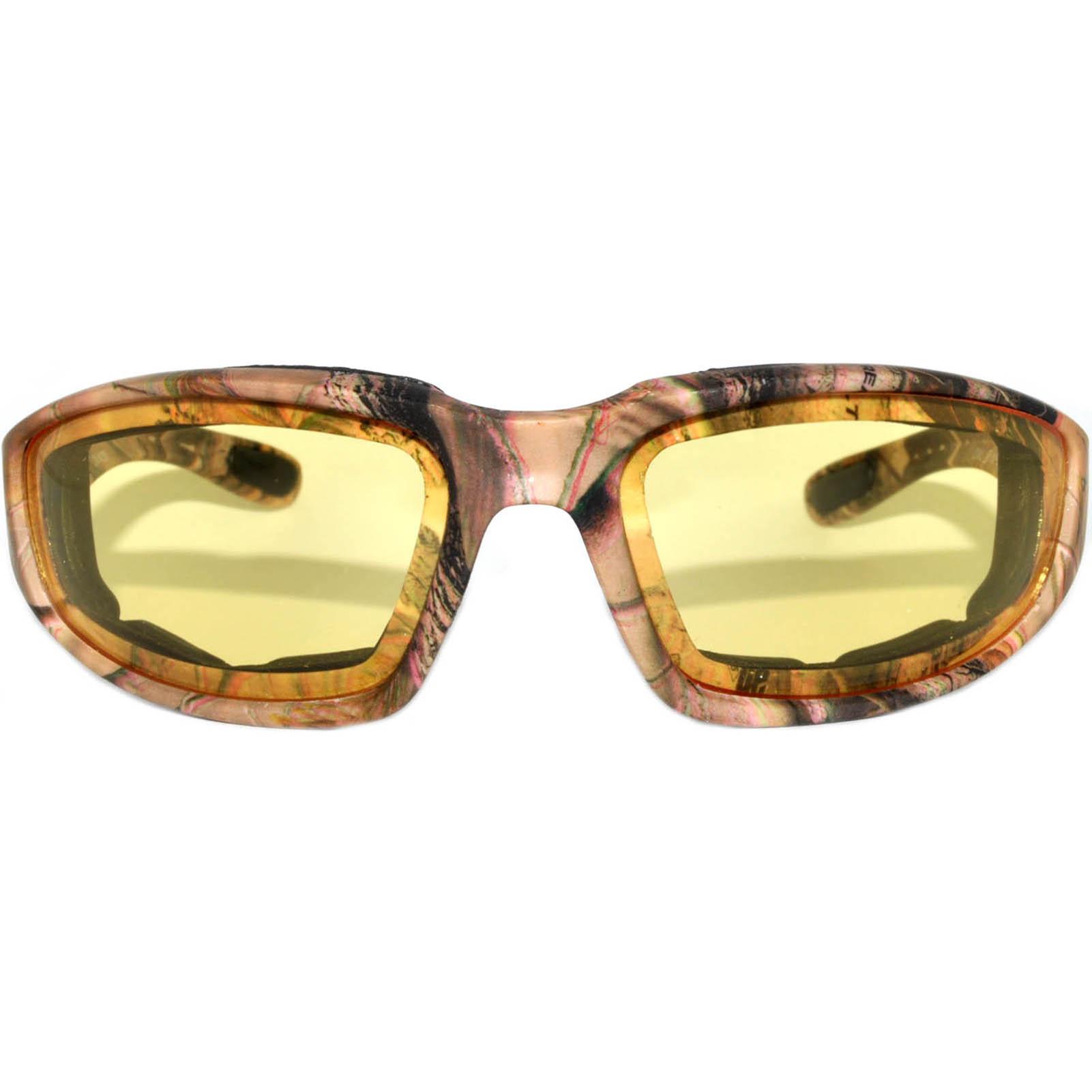 OWL Eyewear Motorcycle Padded Glasses Camo#3 Frame Yellow High ...