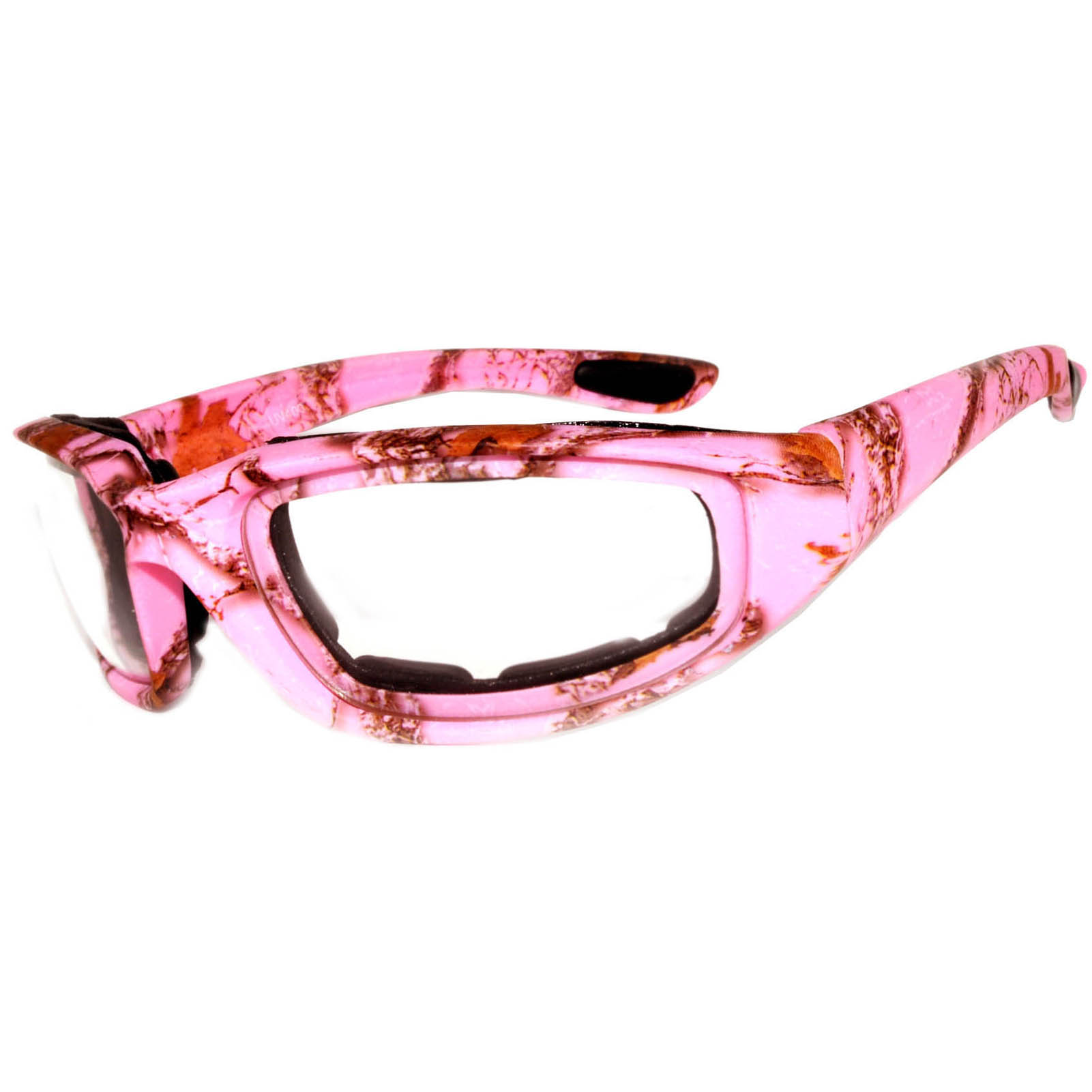 OWL Eyewear Motorcycle Padded Glasses Camo Pink Frame Clear Lens ...