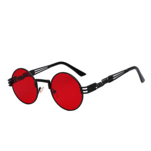 steampunk sunglasses black red lens