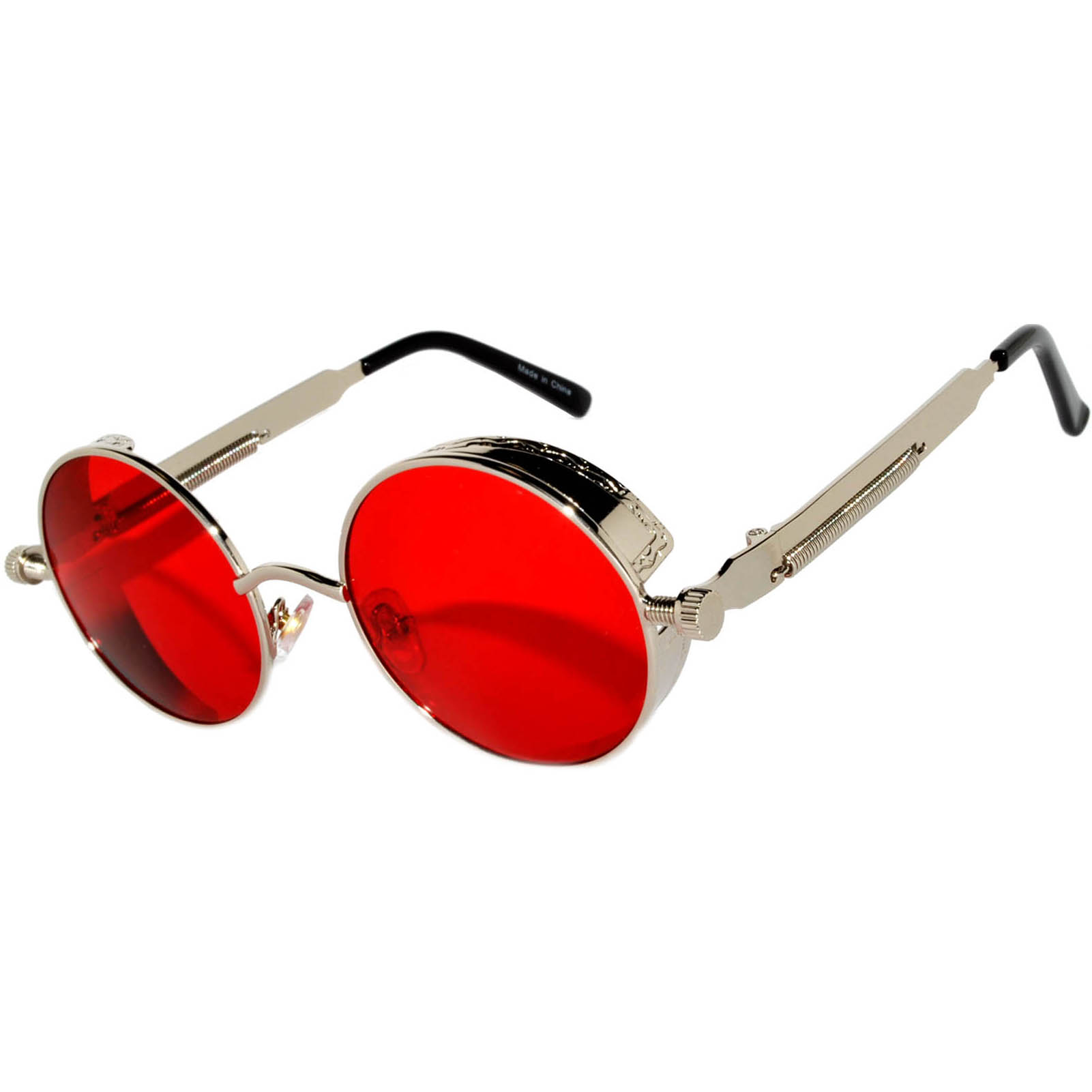 0afcec529ab 060 C12 Steampunk Gothic Sunglasses Metal Round Circle Silver Frame ...