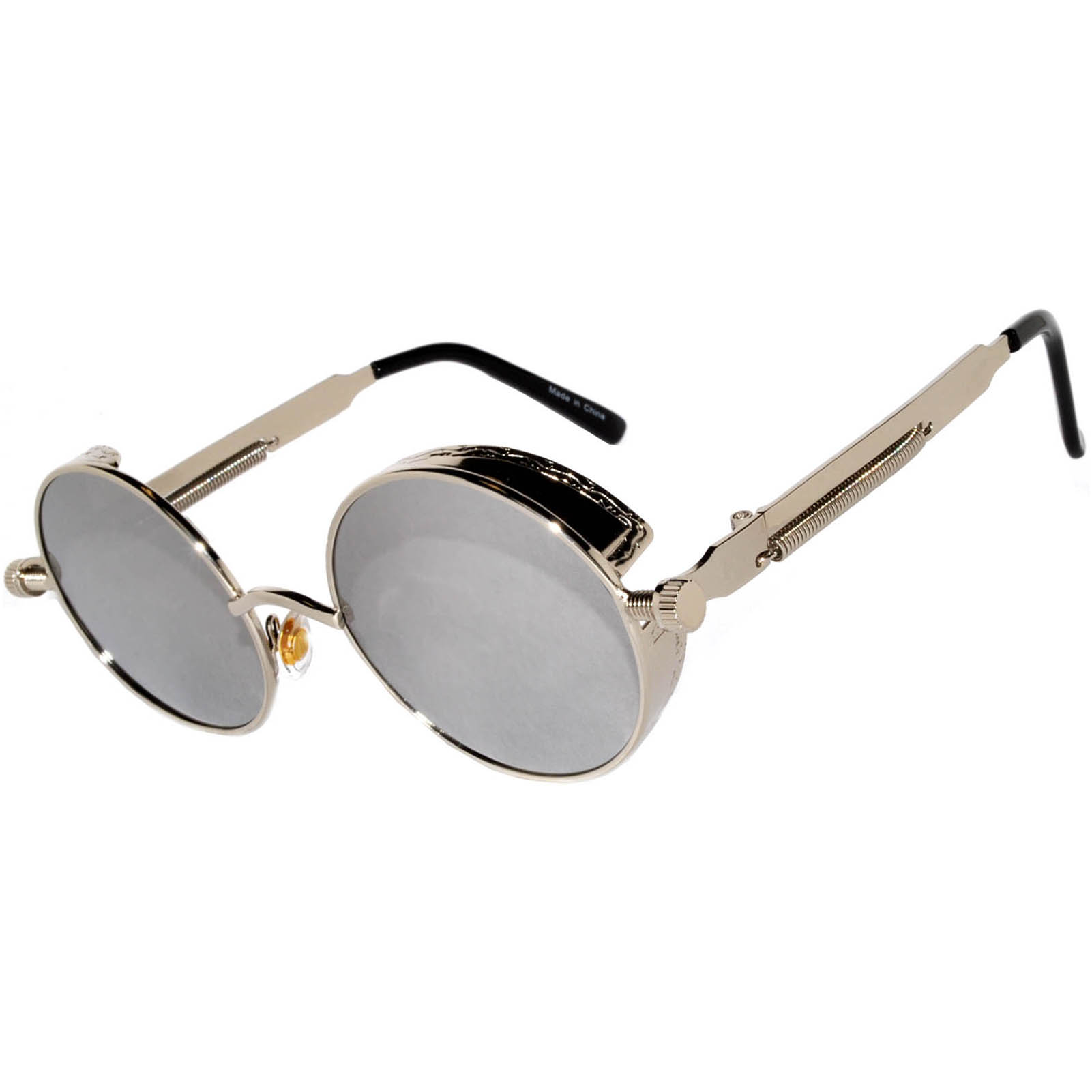 87e6a8b2988 060 C13 Steampunk Gothic Sunglasses Metal Round Circle Silver Frame ...