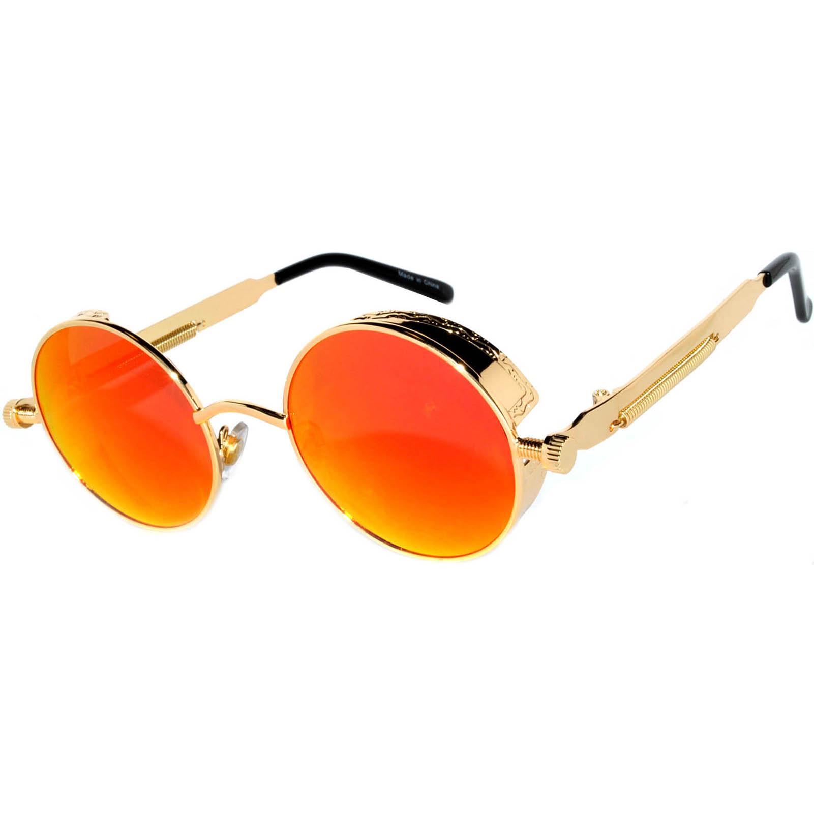 0a7a05b6fa1 060 C14 Steampunk Gothic Sunglasses Metal Round Circle Gold Frame Orange  Red Mirror Lens ...