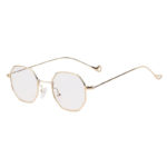 octagon shades sunglasses, gold frame, clear lens