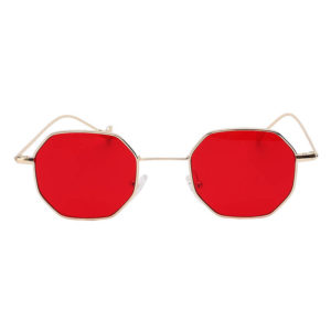 Octagon shape sunglasses, gold frame, red lens