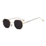 Octagon polygon shape sunglasses, gold frame, smoke lens