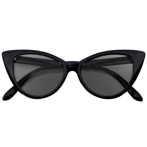 plastic cat eye black frame sunglasses