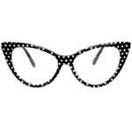 cat eye glasses clear lens black polka dots frame