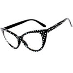 black cat eye glasses polka dots frame clear lens