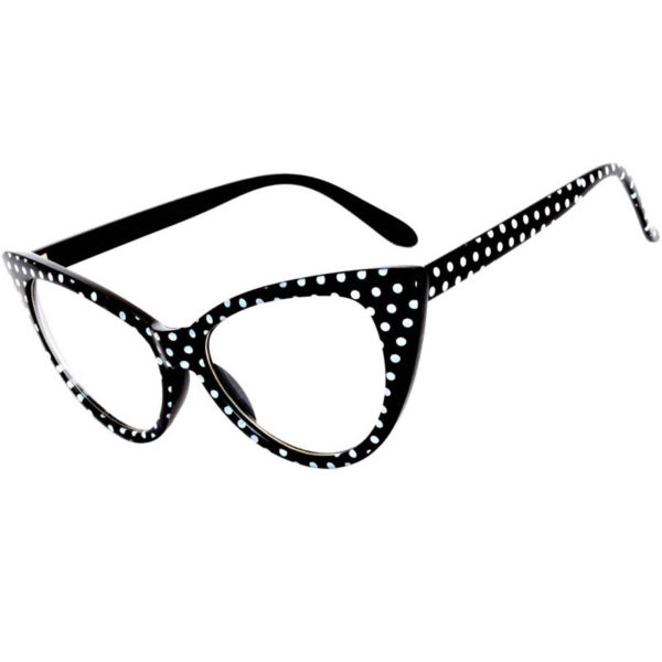 24ea86de0974 OWL ® Eyewear Cat Eye Sunglasses Black Frame Polka Dots Clear Lens ...
