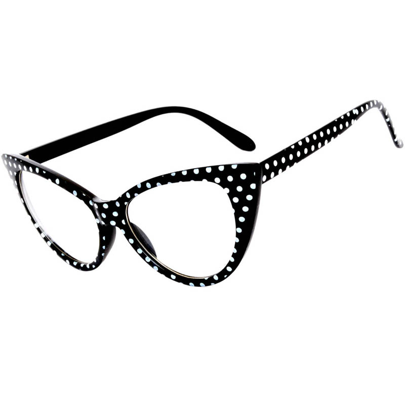 black cat eye glasses polka dots frame clear lens