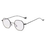 octagon shades hippie sunglasses, Black frame, clear lens