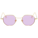 octagon shades hippie sunglasses, gold frame, purple lens