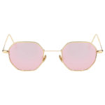 octagon shades sunglasses, gold frame, pink rose mirror lens