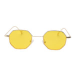 octagon shades sunglasses, gold frame, yellow lens