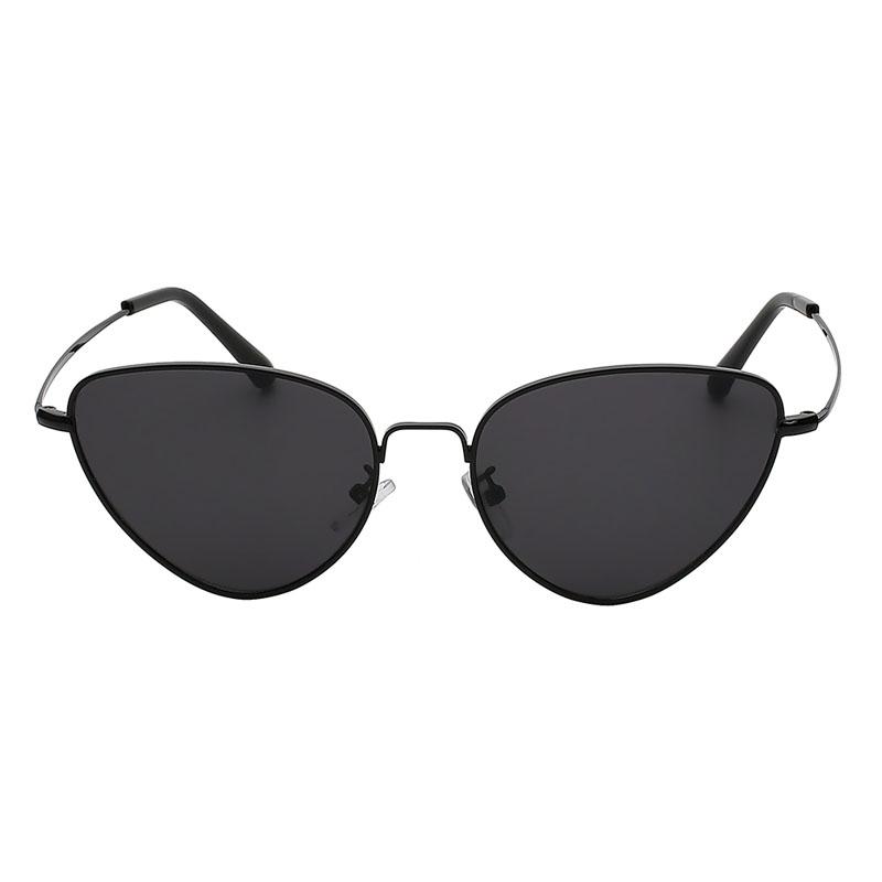 3007 black Metal Cat Eye Sunglasses Colored smoke dark Lens