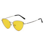 Women Fashion Small Cat Eye Yellow Lens Sunglasses Silver Metal Frame