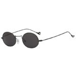 Fashion Vintage Oval Small Black Metal Frame Sunglasses Smoke Lens Shades