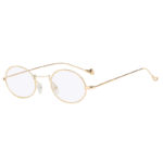 Retro Vintage Oval Small Gold Metal Frame Sunglasses Clear Lens Shades