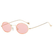 Women Vintage Oval Small Gold Metal Frame Sunglasses Pink Lens Shades