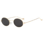 Men Women Vintage Oval Small Gold Metal Frame Sunglasses Smoke Lens Shades