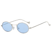 Retro Vintage Oval Small Silver Metal Frame Sunglasses Blue Lens Shades