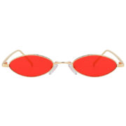 31036 Oval Ultra Thin Small Slim Skinny Narrow Gold Metal Sunglasses Red Lens