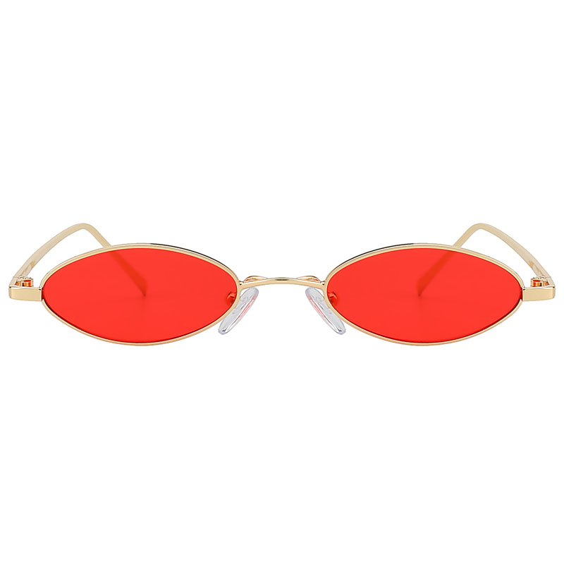 31036 Oval Ultra Thin Small Slim Skinny Narrow Gold Metal Sunglasses Red Lens