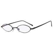 Oval Ultra Thin Small Slim Skinny Narrow Black Metal Glasses Clear Lens
