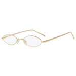 Oval Ultra Thin Small Slim Skinny Narrow Gold Metal Frame Sunglasses Clear Lens