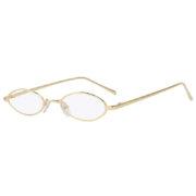 Oval Ultra Thin Small Slim Skinny Narrow Gold Metal Frame Sunglasses Clear Lens