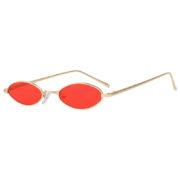 31036 Oval Ultra Thin Small Slim Skinny Narrow Gold Metal Sunglasses Red Lens UV400