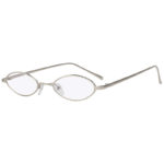 Oval Ultra Thin Small Slim Skinny Narrow Silver Metal Sunglasses Clear Lens