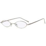 Oval Ultra Thin Small Slim Skinny Narrow Silver Metal Sunglasses Clear Lens