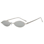 Oval Ultra Thin Small Slim Skinny Narrow Metal Silver Glasses Mirrored Lens