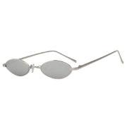 Oval Ultra Thin Small Slim Skinny Narrow Metal Silver Glasses Mirrored Lens