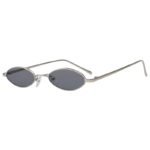 small oval mtal silver frame dark lens sunglasses